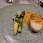 Cod loin with shrimp butter sauce and asparagus