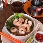 Prawn Pho and vietnamese coffee