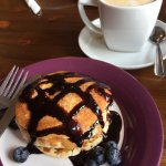 Blueberry pancakes with chocolate sauce - a great start to the day!