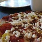 Peasant pizza which has yummy goat cheese
