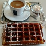Belgium at its best...a fresh waffle and a cup of coffee!