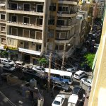 View from Hotel rooftop, busy Hamra (Beirut) street