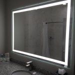 Loved this lighted mirror in the bathroom