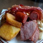 Breakfast Buffet: Ham, Bacon, Sausage, Fried Mush, Breakfast Potatoes, and Scrambled Egg cassero