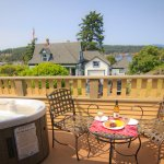 The Orcas Suite with views of Friday Harbor, private hot tub, fire place, kitchen and room servi