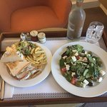 Greek salad and a club sandwich on room service.  A (semi) healthy and lovely evening feast!