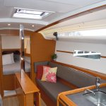Comfortable interiors welcome our sailing guests. This is one of our 349 Jeanneaus, s/v Bliss