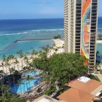 From our room overlooking the Rainbow Tower, main pool, lagoon and beach.