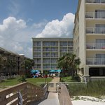 View of the HGI Orange Beach AL from the boardwalk to the beach.