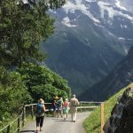 Hiking down to the hotel after meeting between Murren and Gimmelwald.