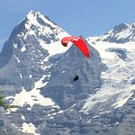 Hang gliders with the long ride down to the valley below.