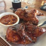A whole bbq chicken with the house beans, a very good value! Especially if you want the leftover