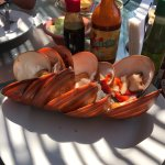 Communication was hard but food was good. They bring you lots of sauces! Huge clams!