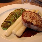 The pork was so soft and juicy, so as the asparagus