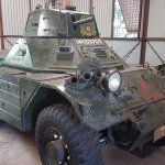 Military equipment is on display
