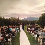 Wedding area frames the mountain