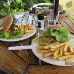 Gluten-free chicken burgers and chips
