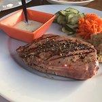 The tuna steak (medium rare ordered and served)
