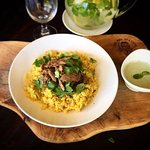 Slow cooked Indian spiced Lamb with Saffron Rice and refreshing mint yoghurt