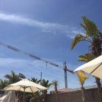 Tower crane over La Nina pool area