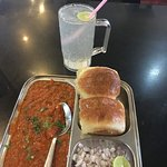 Pav bhaji with lime soda