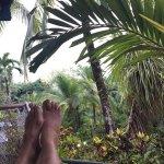 Happy feet in a hammock.