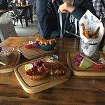 Sharing nibbles, prawns, chicken wings, calamari, chicken fingers, potato skins