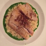Grilled snapper with Pea Risotto