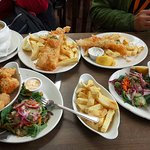 2 dishes at top is the fish & chip & the 2 below is the monk fish. Definitely go for the monkfis