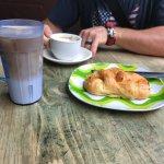 breakfast croissant, cafe breve