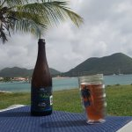 View of Rodney Bay while enjoying a local beer, The Naked Fisherman IPA from Antillia Brewing
