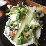 Market asparagus & wild rice salad, garden herb labneh, english peas, feta, hazelnuts, sunshoots