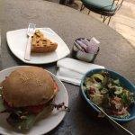 apple pie, tuna sandwich and salad