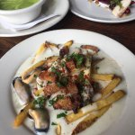 """Another terrific dinner at Albatross: chicken liver mousse, seafood """"poutine"""" and smoked sturgeo"""