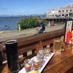 Oyster shooters... and that view!