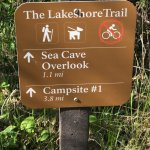Trail sign at about 0.7 miles from start for the Lakeshore Trail