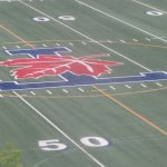 U of T logo on the football field