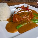 Salmon with Thai red curry