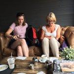 Ladies on their phones!