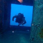 Swimming through a ship wreck