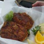 Crab cakes & clam chowder!  So yummy, so yummy!