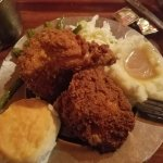 Fried chicken, green beans, cole slaw, potatoes & gravy, biscuit