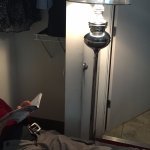 so called closet (can't stand if front of) & crap standing light to read by on 1 side of bed