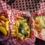 Fried scallops, garlic fries, shrimp tacos