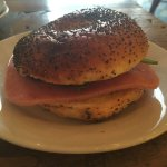 Turkey ham and cranberry bagel muffin