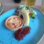 Crab & Gruyere Cheese Tart but actually was salmon & gruyere cheese (blah)