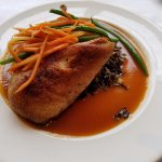 Crispy duck on a bed of wild rice and a melage of vegetables. Yummy! Duck was juicy:-)