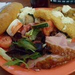 My Buffet plate is a mixed of Spring Salad with Raspberry Sauce, Catfish, Ham, Garlic Bread & Eg