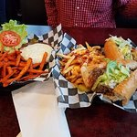 cheeseburger and California Cheesesteak and fries