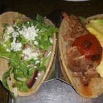 Rice, meat tacos